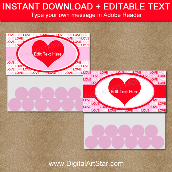 Valentine Candy Bag Toppers - Printable Bag Topper Template