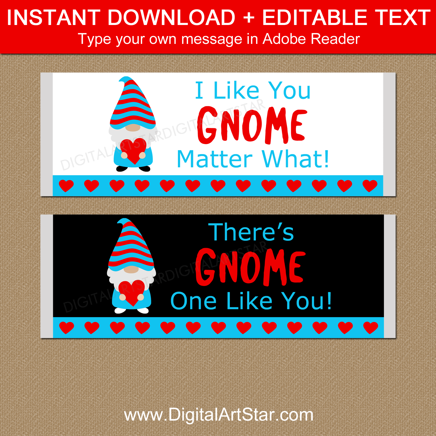 Gnome Valentines Day Party Favors for Kids