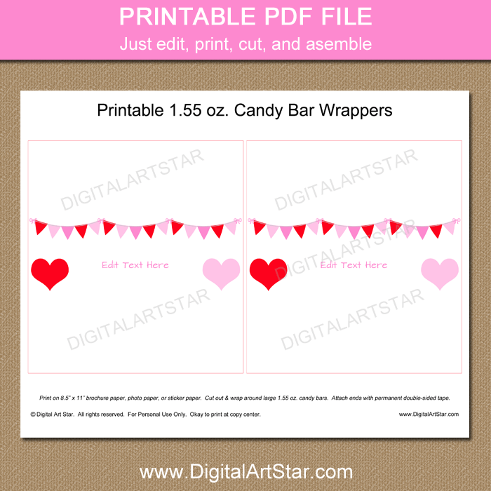 Printable Valentines Day Candy Bar Wrapper Template