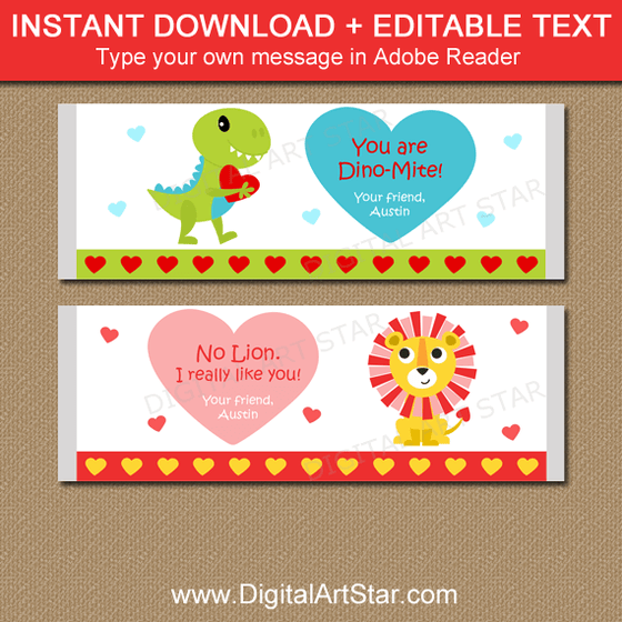 Lion and Dinosaur Valentine Candy Bar Wrappers Printable
