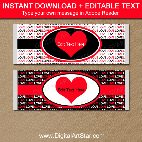 Valentine Chocolate Bar Wrapper Template in Red and Black