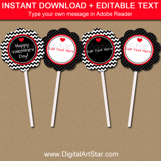 Valentine Cupcake Toppers with Editable Text