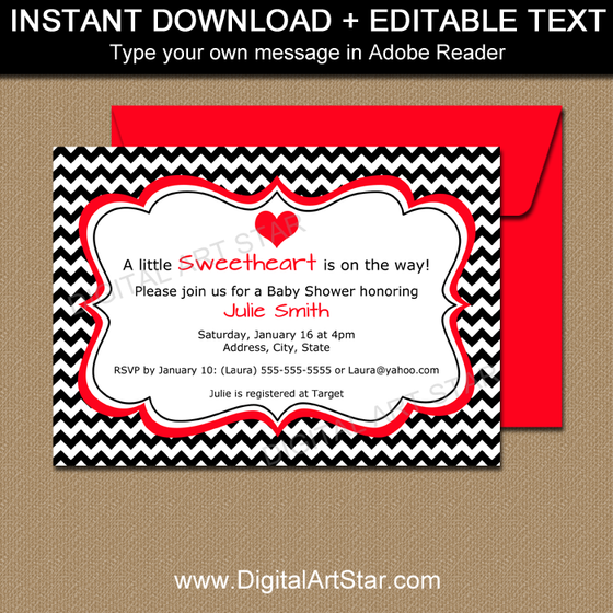 Black and White Valentine Idea - Printable Invites