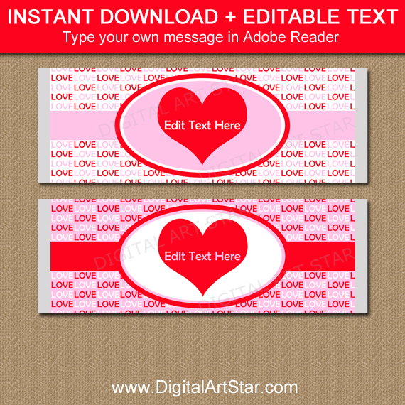 Valentine party favors candy bar wrapper template for Valentine candy bar wrapper templates