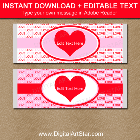 Printable candy bar wrappers chocolate bar labels for Valentine candy bar wrapper templates