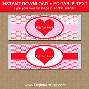 Valentine Party Favors - Valentine Candy Bar Wrapper Template