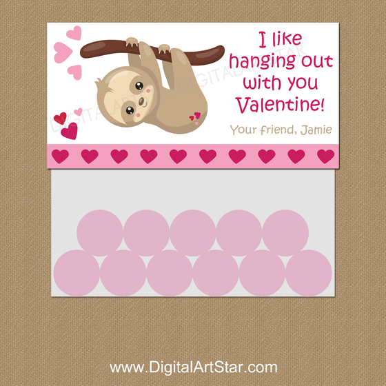 Valentine Sloth Candy Bag Toppers Personalized