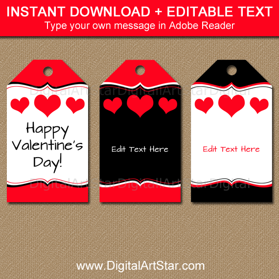 Printable Valentine Tag Template with Editable Text