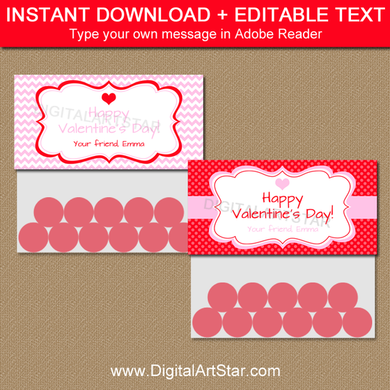 Valentine's Day Party Favor Bag Toppers in Pink and Red