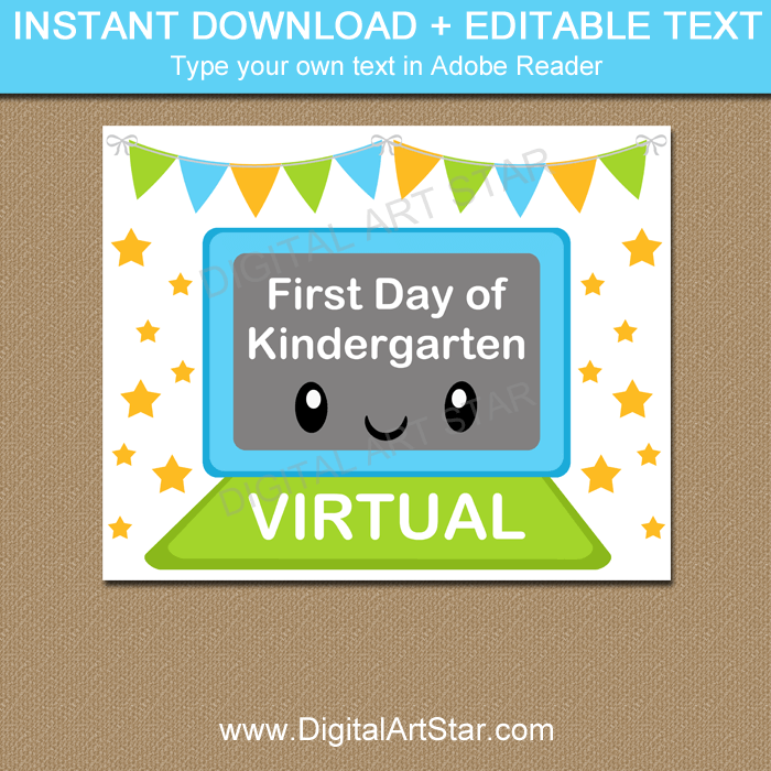 Virtual First Day of Kindergarten Sign Printable