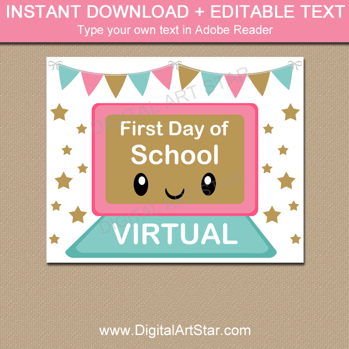 Virtual First Day of School Printable Sign for Girls