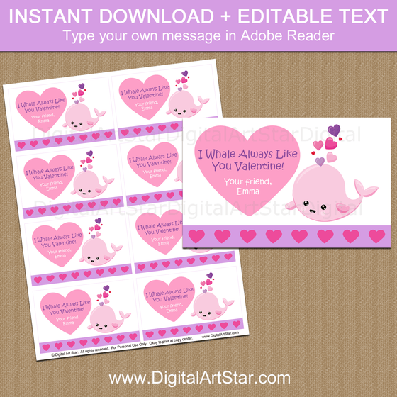 Printable Whale Valentines for School Party