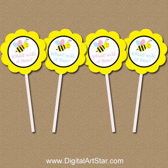 What Will It Be Printable Gender Reveal Cupcake Toppers Decorations