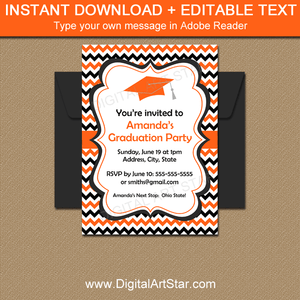 White Orange Black High School Graduation Invitations