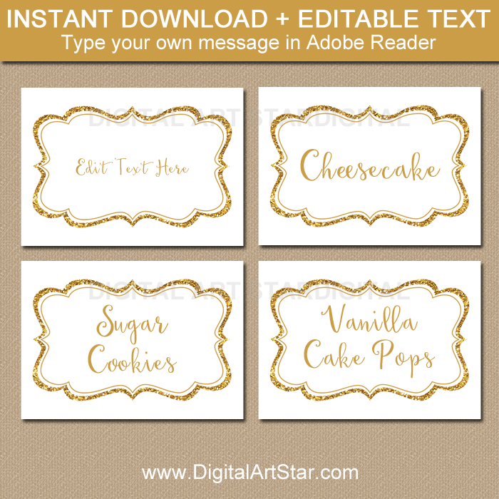 White and Gold Glitter Food Labels