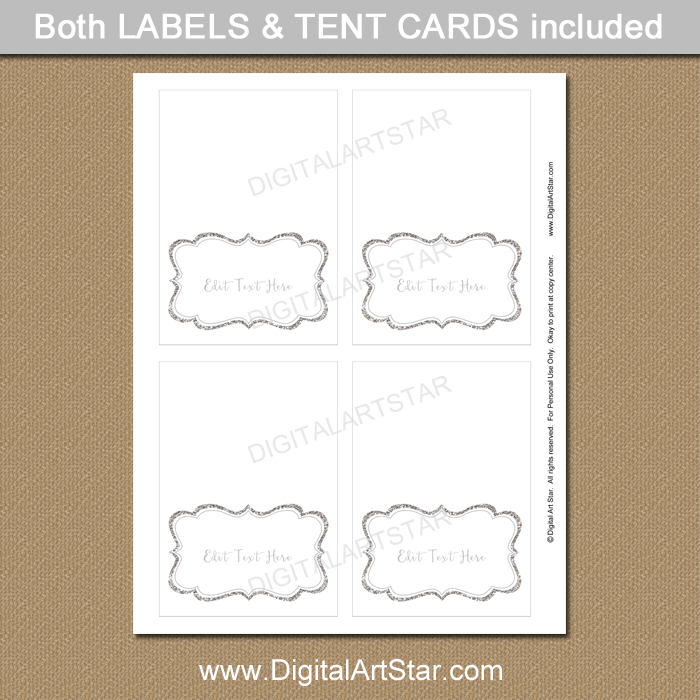 Printable Silver Glitter Place Cards
