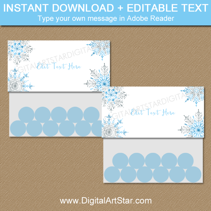 Winter Party Favors - Snowflake Treat Bag Topper Printable