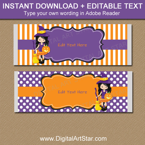 Witch Candy Bar Wrappers for Girl Halloween Birthday Party