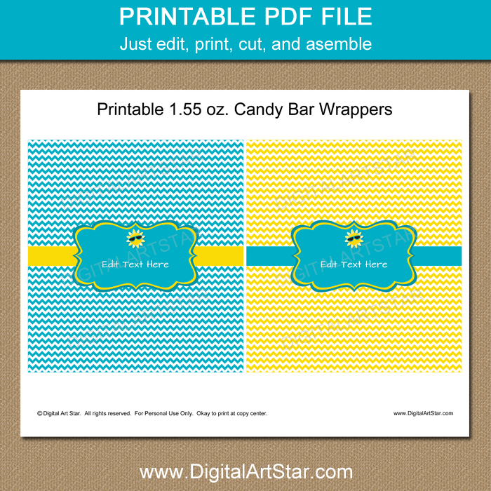 picture about Printable Candy Wrappers titled Summertime Social gathering Favors - Yellow and Turquoise Sweet Wrappers