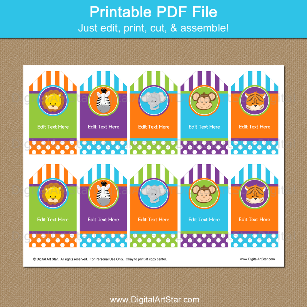 Printable Zoo Party Favor Tags with Editable Text