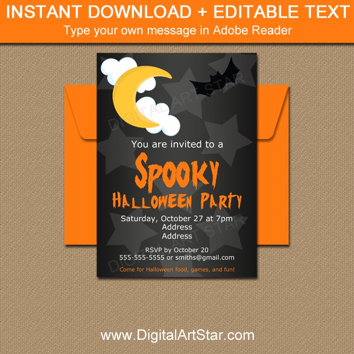Adult Halloween Party Invitation Template
