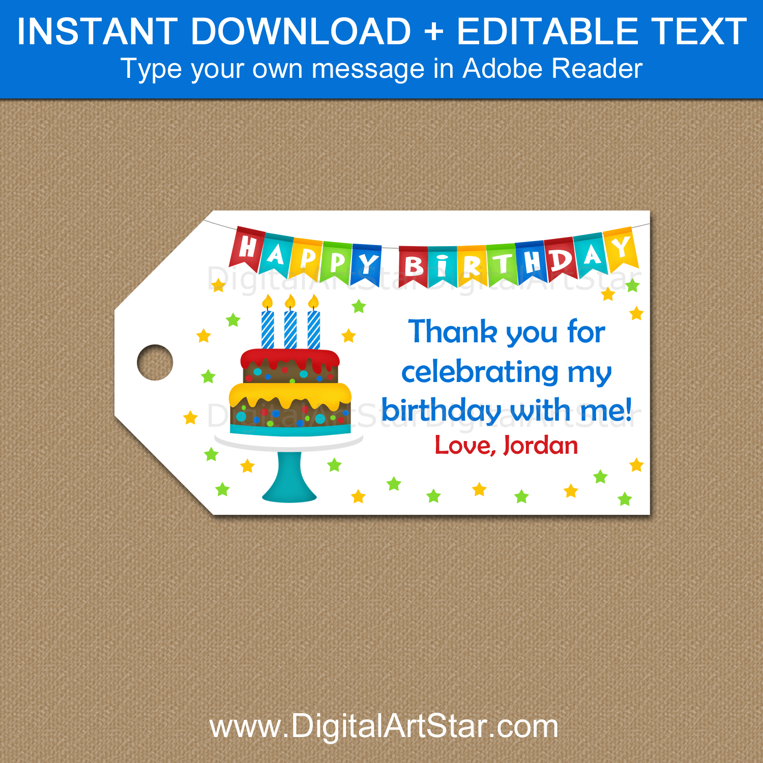 Printable Birthday Cake Theme Gift Tag Template