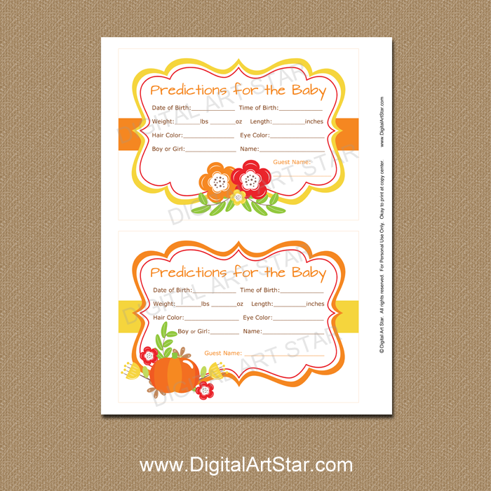 Fall Baby Shower Prediction Cards Printable