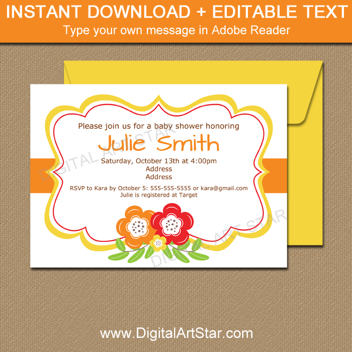 Autumn Baby Shower Invitation Template