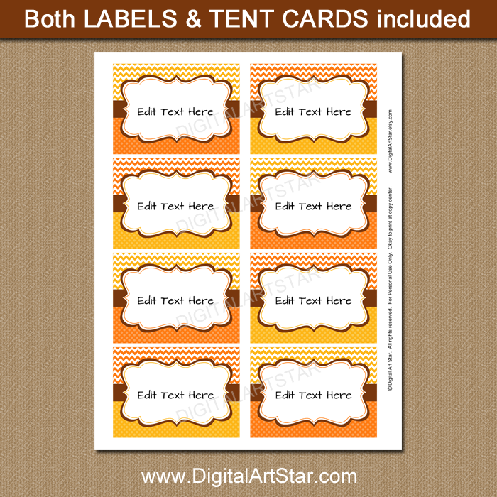 Fall Candy Buffet Label Editable Template