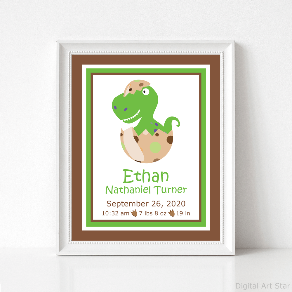 Baby Dinosaur Birth Stats Sign Printable Green and Brown