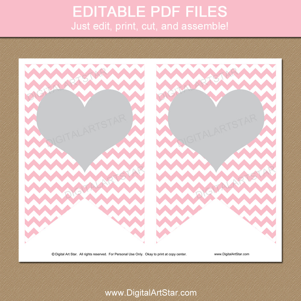 Editable Pink and Gray Banner Printable