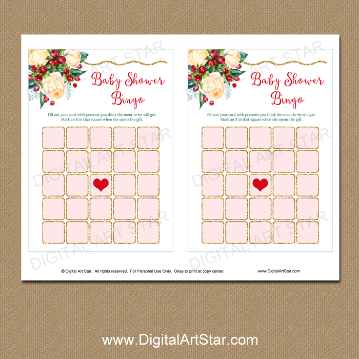 photograph relating to Baby Bingo Printable referred to as Floral Youngster Shower Bingo Printable for Xmas
