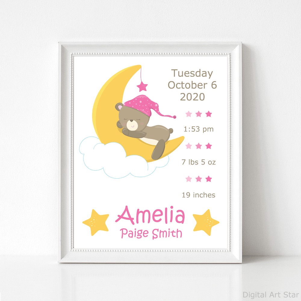 Bear and Moon Birth Stats Sign Printable for Girls