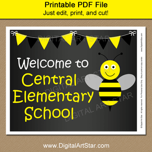 Printable Chalkboard Welcome Sign for School with Bumble Bee