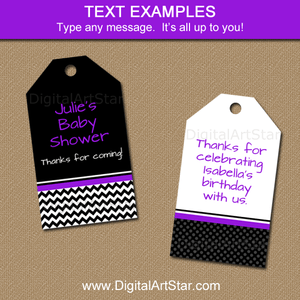 Birthday Favor Tags Printable Black White Purple Hang Tags