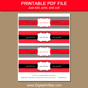 Birthday Printable Water Bottle Labels Red Black White