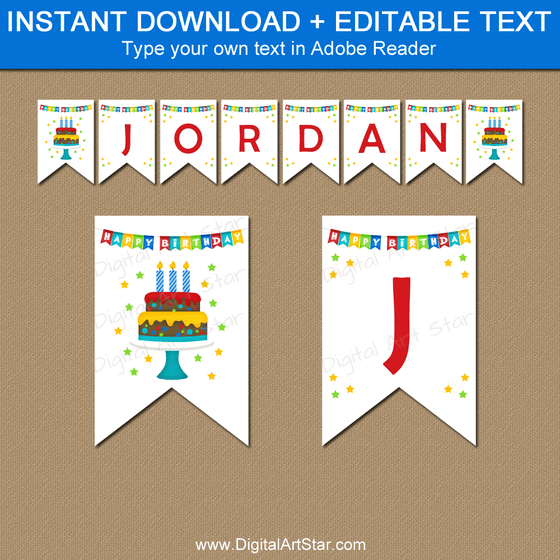 Instant Download Happy Birthday Banner Template