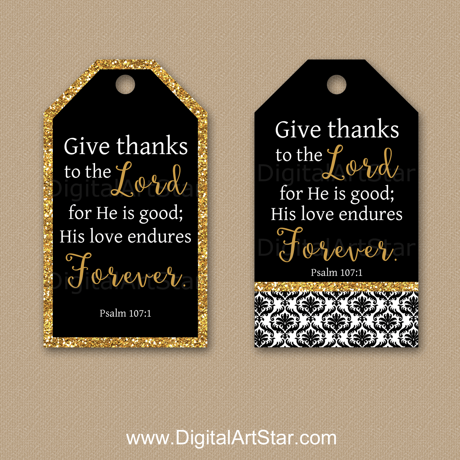 Black and Gold Printable Christian Gift Tag - Psalm 107