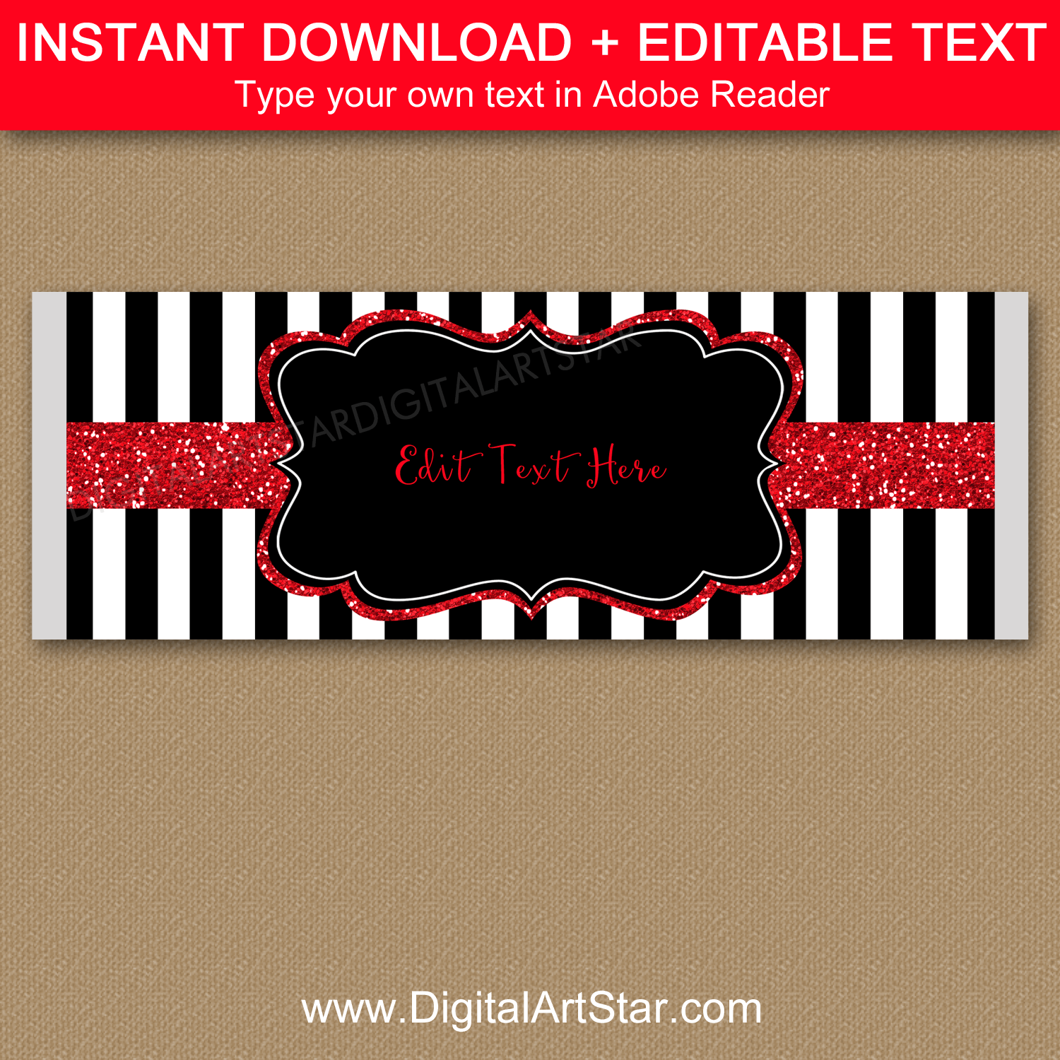 Black and White Striped Candy Bar Template with Red Glitter Accents