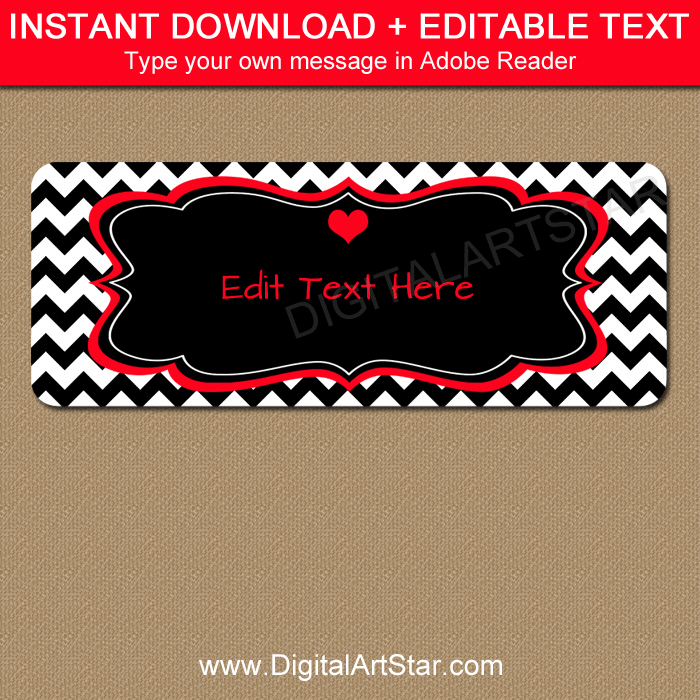 Black and White Valentine Address Labels with Red Accents