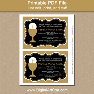 Black Gold 1st Holy Communion Invitation Printable