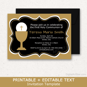 Black and Gold First Communion Invitation Template