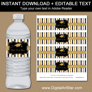 Black and Gold Graduation Water Bottle Labels Editable Template