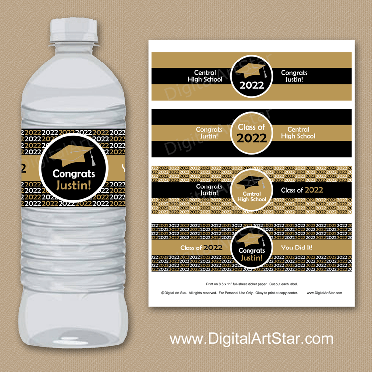 Black and Gold Senior Graduation Party Water Bottle Labels Instant Download