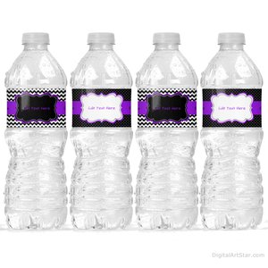Black and Purple Water Bottle Decorations