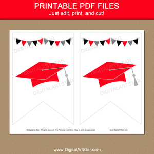 Black Red White Graduation Printable Banner Download