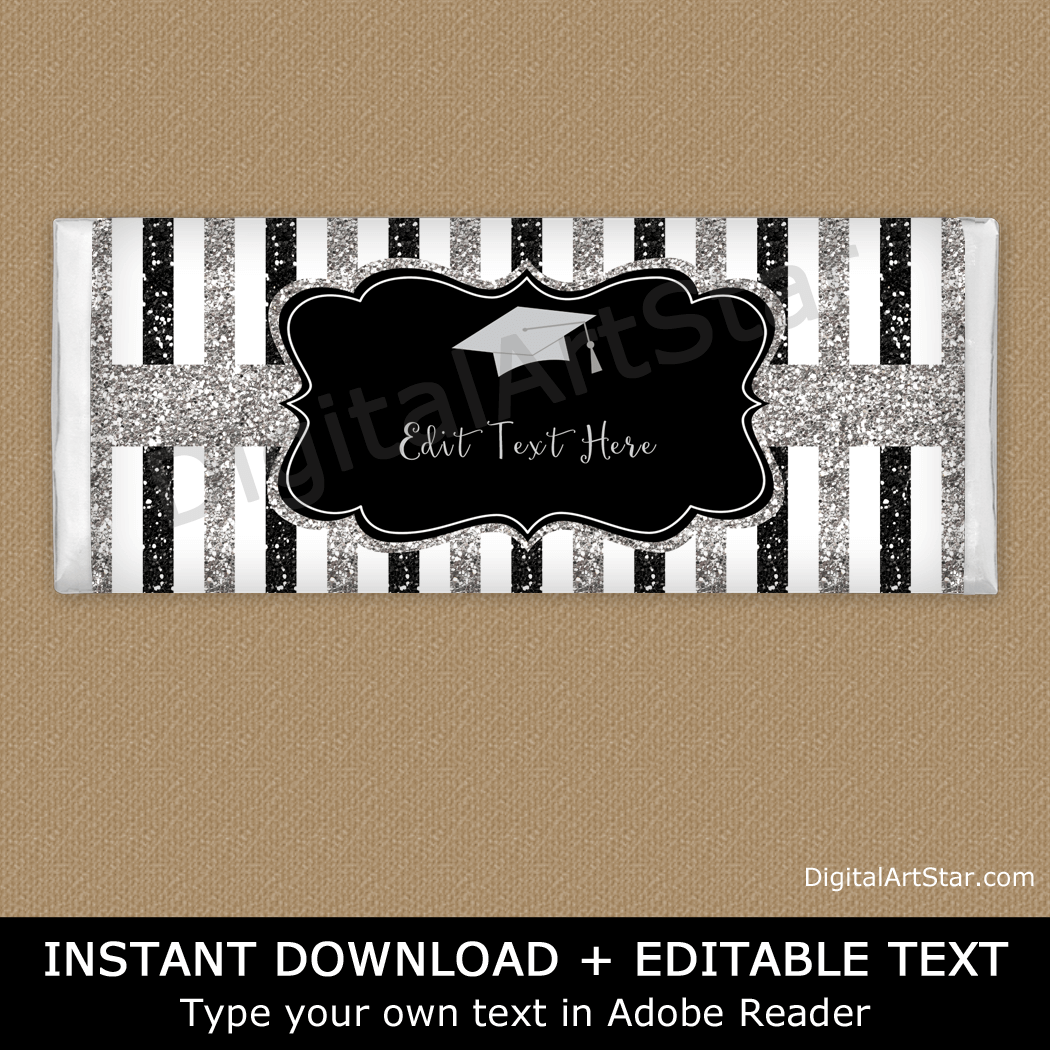 Black and Silver Glitter Graduation Chocolate Bar Wrapper Template
