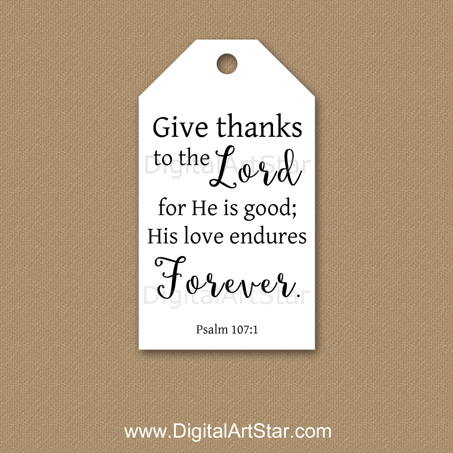 Black and White Christian Gift Tags Psalm 107
