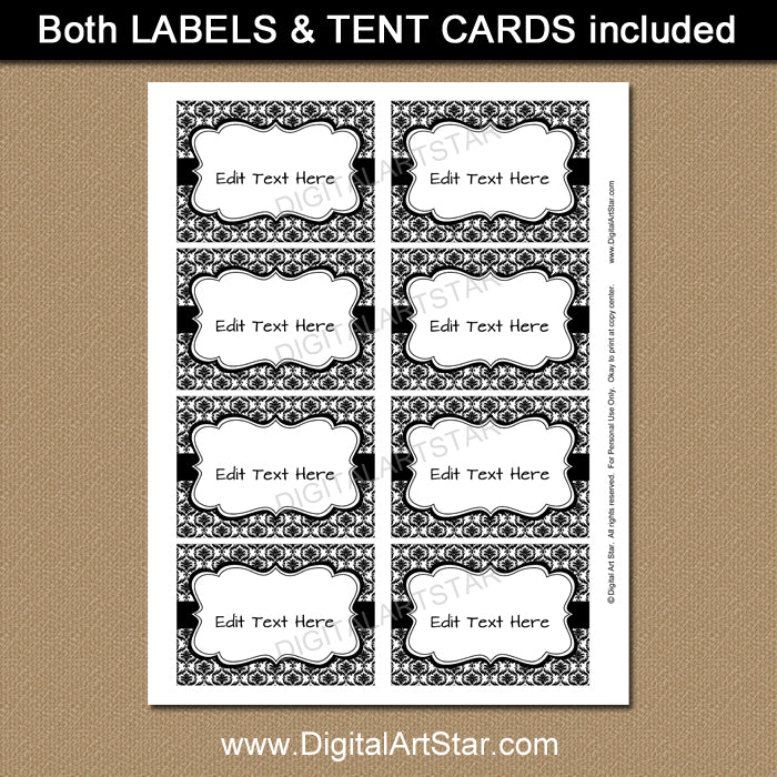 printable black and white candy buffet labels by digitalartstar