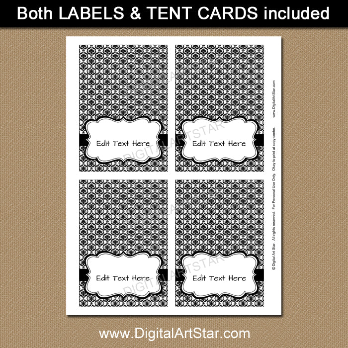 editable food tents in black and white by digital art star